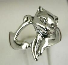 UNIQUE .925 STERLING SILVER LARGE CAT  RING size 8  style# r0524