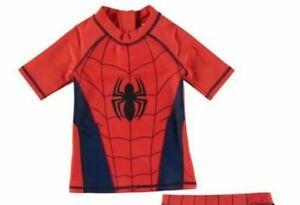 Officiel-Marvel-Spiderman-Garcons-Swim-Top-Junior-Bleu-Marine-Rouge-Taille-3-4-ans-B221-8