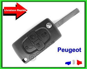 Coque-Telecommande-Plip-Cle-Peugeot-4-Boutons-807-1007-Lame-vierge