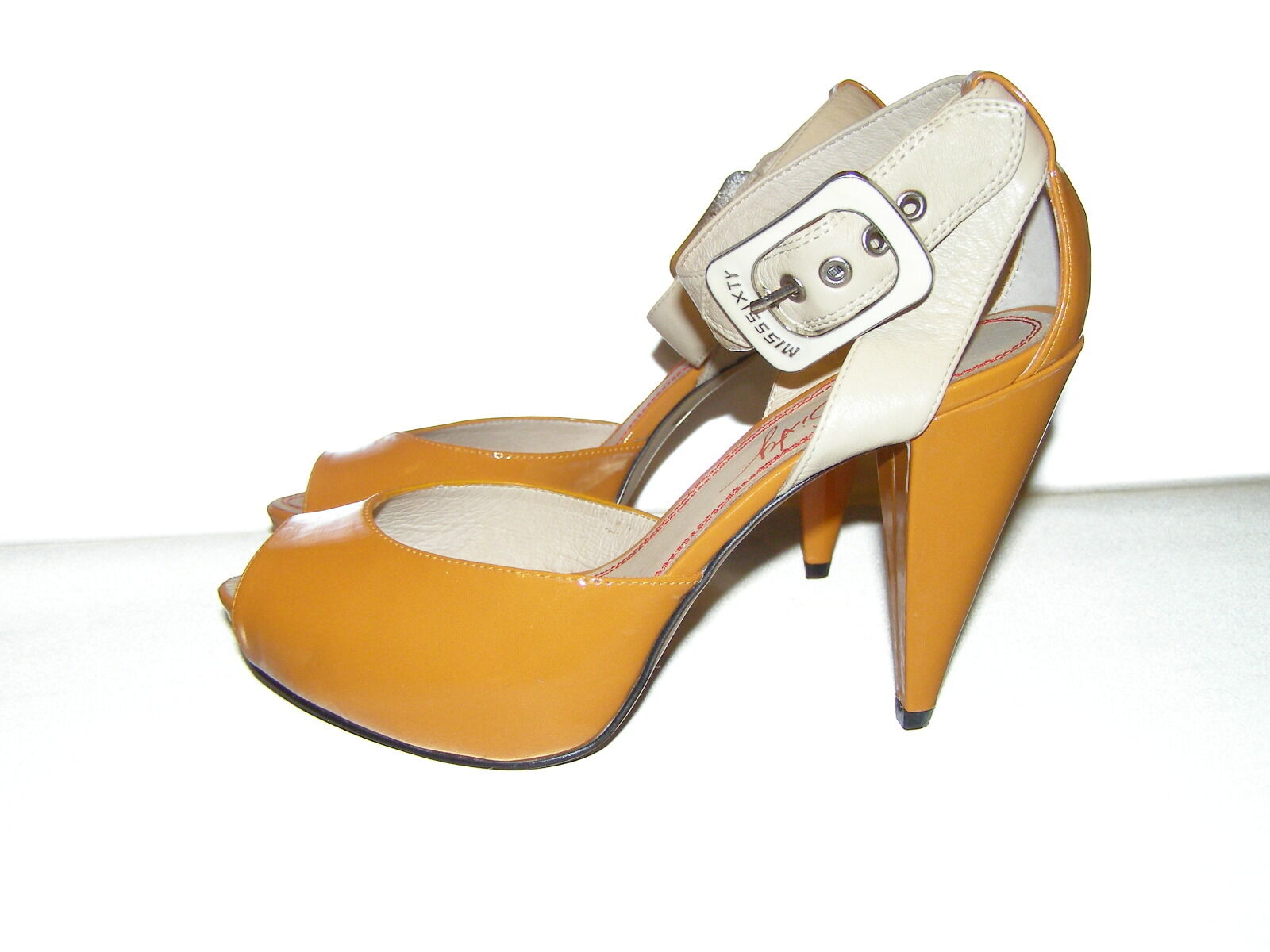 MISS SIXTY Casey patent high heel ankle strap patent Casey Orange Sandal New 8 39 b3ce42