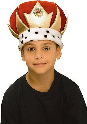 Kings Crown Mens Royalty Costume Plush Hat Jewel Red Fancy Dress King Gift MA