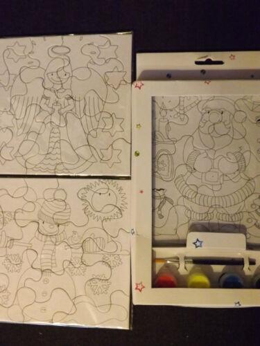 6 x Malpuzzle 2 x 3 Stk Pinsel /& Farben Malen Puzzle Farben