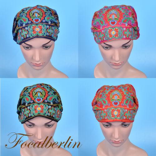 Turban Mütze Beanie Ethnische Stil Bestickt Vintage Damenmode Geschenk Farbig