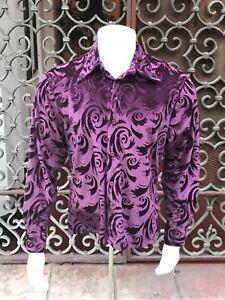 para manga botones Camisa larga Velvet Eegplant hombre con de Look de Wn77AFS