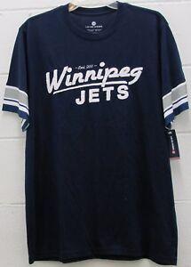 c0c965118b1 Men s Winnipeg Jets NHL Tee T Shirt Hockey Embroidered Navy Blue L ...