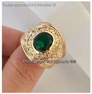 Bague-Chevaliere-Cz-emeraude-Plaque-Or-18-Carats-Taille-66-Bijoux-HOMME-NEUF