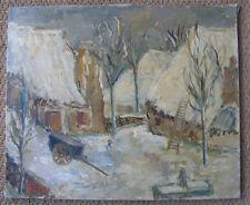 Village sous la neige, signé Cabanes. Massif Central ? Tableau de Neige