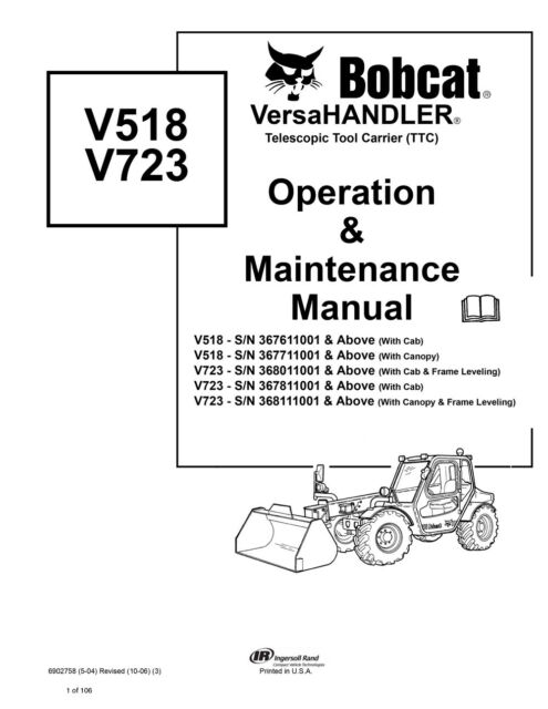 bobcat v518 v723 versahandler operation maintenance manual 6902758 rh ebay com Bobcat V518 VersaHandler Bobcat MT55