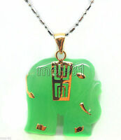 Natural Light Green Jade 18K Gold Plated Carved Elephant Pendant Necklace