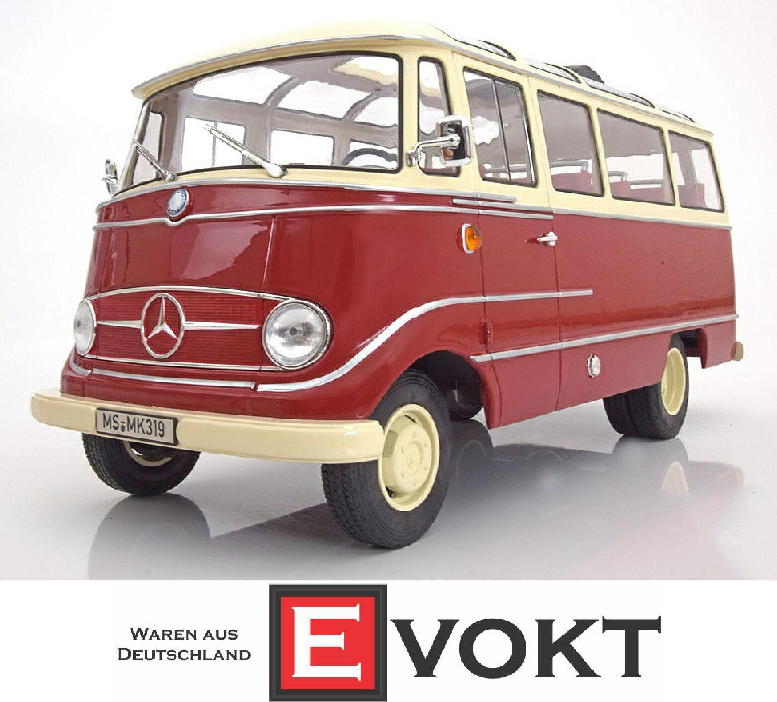 1 18 Norev Mercedes O319 Bus 1960 Rojo Crema