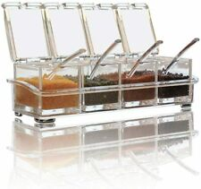 YUCHANG 2-Piece Seasoning Pot Seasoning Box Set Kitchen Transparent Glass Seasoning Bottle Salt Shaker Sugar Bowl Salt Shaker With Spoon Olive Oil Bottle With Brush 8 oz
