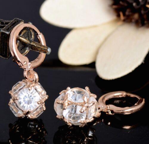 Para mujeres 18K Oro Rosa /& 3D Cubic Zircon cuelgan pendientes SWA Cristal Regalo UK