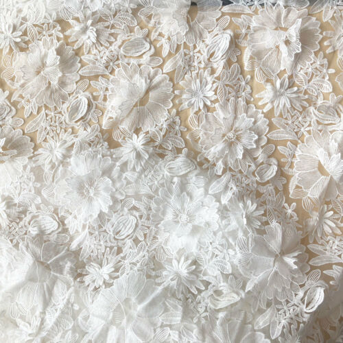 3D White Corded Bridal Gown Lace Fabric Blossom Embroidery Costume Dress Trim 1Y