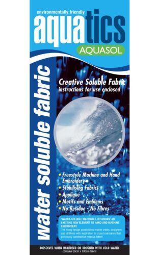 Tela soluble en agua-Vilene solufleece//Aquasol 50cm de ancho x 100cm empaquetada