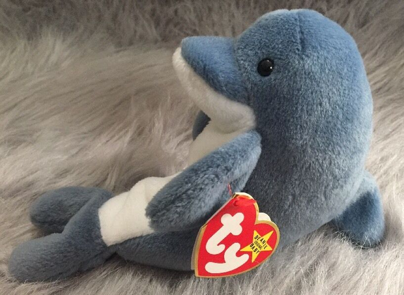 TY Original Beanie Babies   Echo   The Dolphin-With  Waves The Whale  Tags RARE