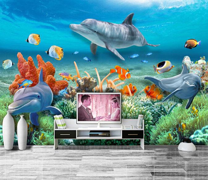 3D Lifelike Dolphins 7 Wall Paper Murals Wall Print Wall Wallpaper Mural AU Kyra