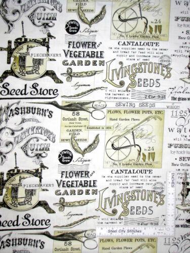 Sewing Seeds II Sew Garden Seed Ads Ecru Cotton Fabric QT Wecker Frisch Yard
