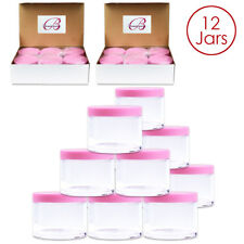 12pcs 2 Oz 60G High Quality Acrylic Leak Proof Container Jars with Silver Lids