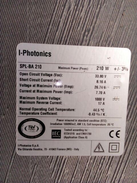 Pannelli fotovoltaici 210watt