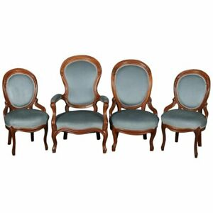 Four-Victorian-Carved-Walnut-Upholstered-Parlor-Chairs-circa-1910