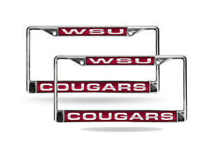 Washington State Cougars Chrome License Plate Frame Set of 2