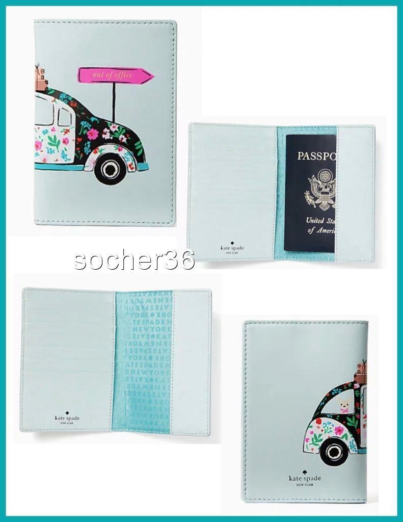 Sold 1 KATE SPADE OUT OF OFFICE Passport Holder Imogene NEW HORIZONS VW FLORAL