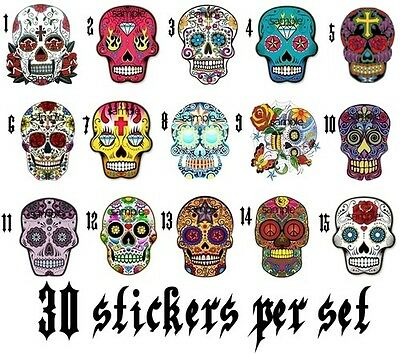 30 MEXICAN SUGAR SKULLS NAIL ART DECALS STICKERS / TRANSFERS PARTY FAVORS