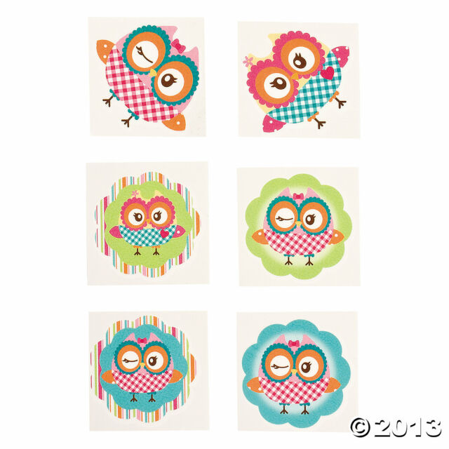 72 Girls Birthday Party Favors OWL YOU'RE A HOOT Temporary TATTOOS