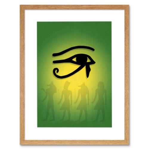 Ancient Egyptian Gods Eye Horus Ra Framed Art Print Picture Mount 12x16 Inch