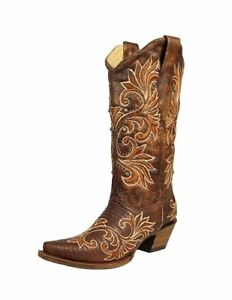 28b680f808d Details about CORRAL Western Boots Exotic Womens Leather Cowboy Snip Toe  Brown A3328