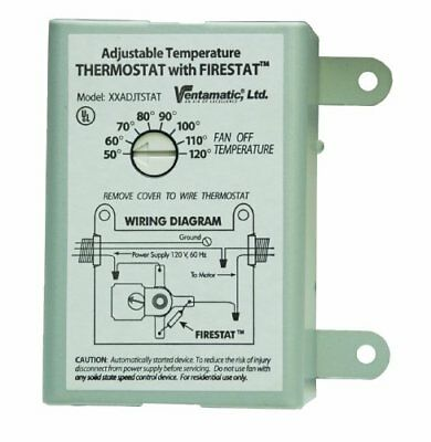 10 Amp Ventamatic Adjustable Fan Thermostat Firestat For Power Attic Ventilators