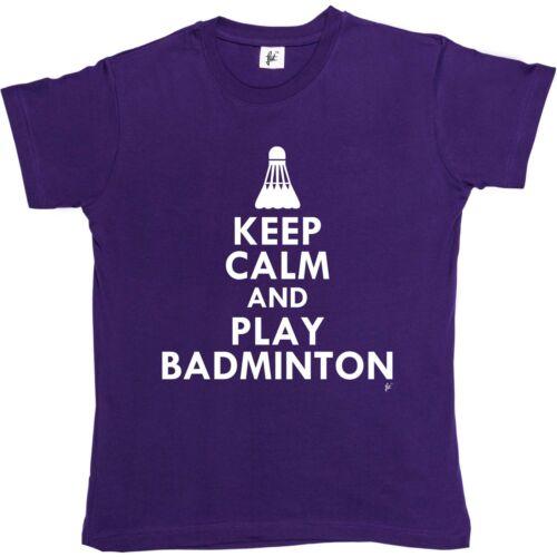Keep Calm /& Play Badminton Shuttlecock Womens Boyfriend Fit T-Shirt