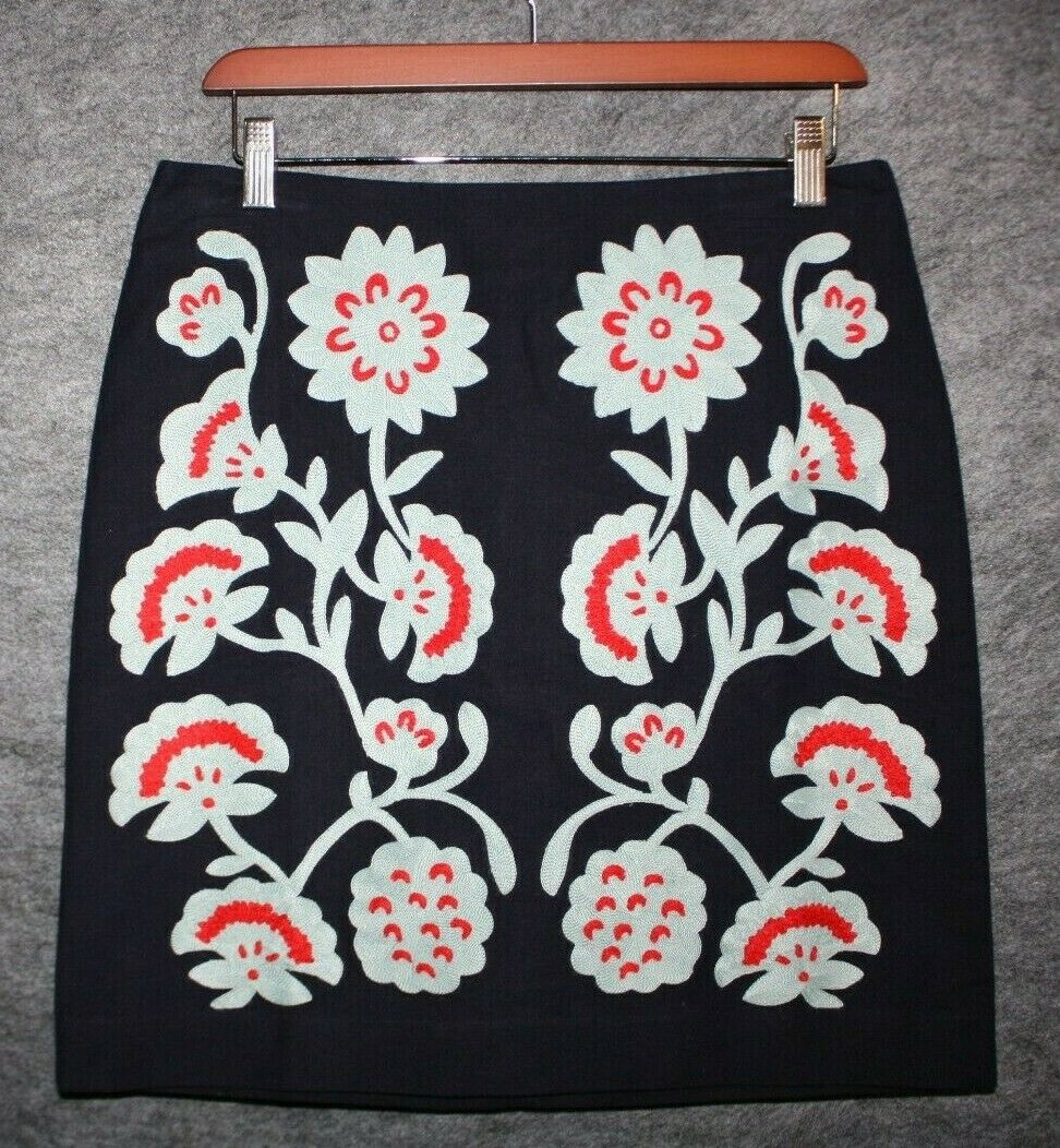 BODEN Womens FUN EMBROIDERED SKIRT Navy bluee Floral US 6 or