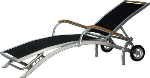 IB style ® diplomate Rollliege Argent ou Noir transat transat chaise longue teck
