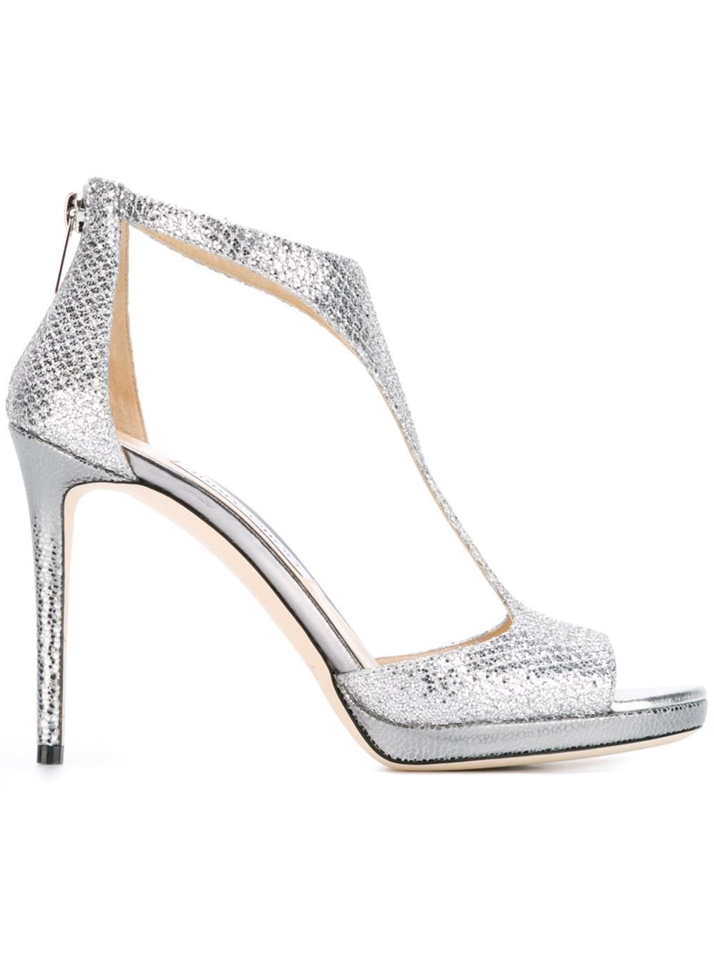 Jimmy Choo Lana 100 Glitter Sandals (38)