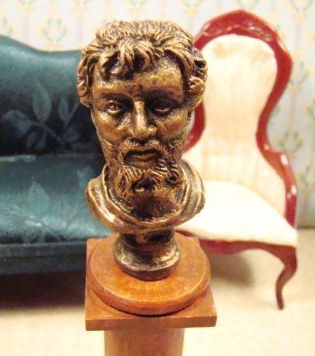 Dollhouse Miniature 1:12 Scale LG Gold Septimus Severus Bust Statue