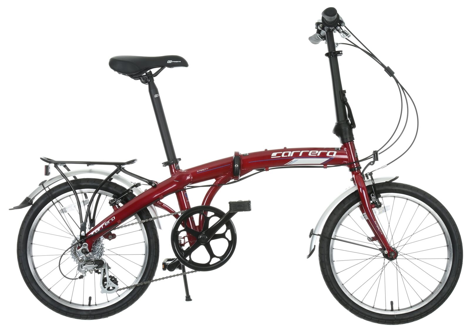 Carrera Intercity Unisex Adults Mens Womens Folding Bike Red Alloy Frame 8 Speed