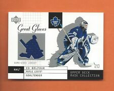 2002-03 UD MASK COLLECTION ED BELFOUR GAME-USED JERSEY #GG-EB MAPLE LEAFS