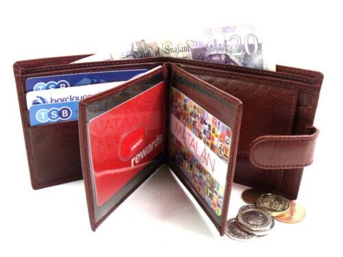 Da Uomo Premium qualità marrone vera pelle titolare della carta di credito ID PHOTO Wallet