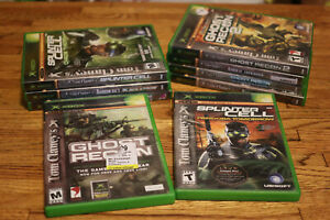 Large-Lot-of-9-Tom-Clancy-Xbox-Games-Ghost-Recon-Splinter-Cell-Rainbow-Six