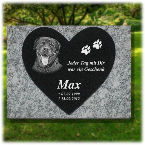 Granit Grabstein GRABPLATTE Herzform ►Text/ Foto Gravur◄ 60x40 cm - Hund-hg64