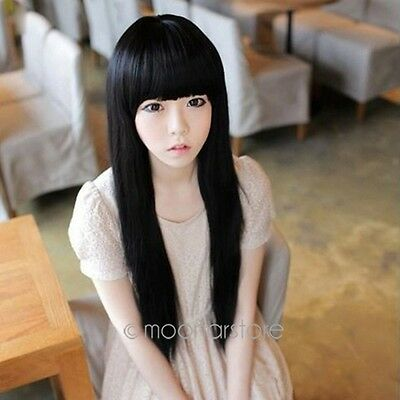 Fashion Womens Lolita Long Straight Full Bangs Hair Wig Cosplay Wigs 4 Colors