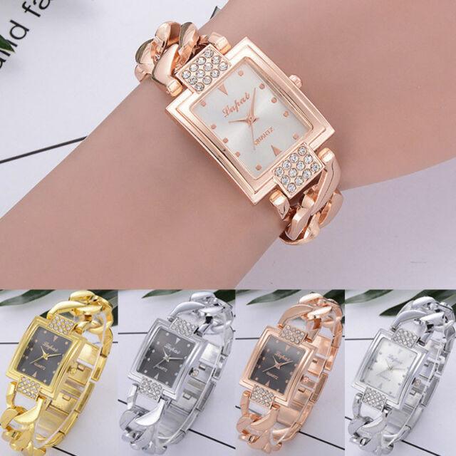 Womens Crystal Stainless Steel Watch Ladies Quartz Bracelet Luxury Wrist Watches