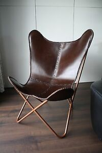Das Bild Wird Geladen MIRAVEZ Design Stuhl BKF  Butterfly Chair Faltstuhl Ledersessel