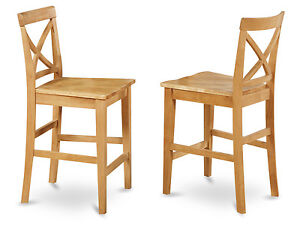 Details About Set Of 2 Bar Stools Kitchen Counter Height Chairs W Wood Seat In Light Oak