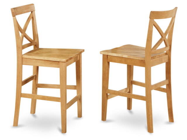 Set Of 2 Bar Stools Kitchen Counter Height Chairs W Wood Seat In Light Oak