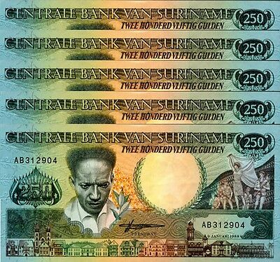 SURINAME 250  GULDEN   1988 Prefix AB   P  134  Uncirculated Banknotes