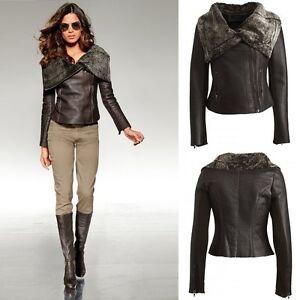 Real Leather Uk Sheepskin Small Aviator Biker Size 850 8 Zip Jacket Pockets qOqtrx7w8