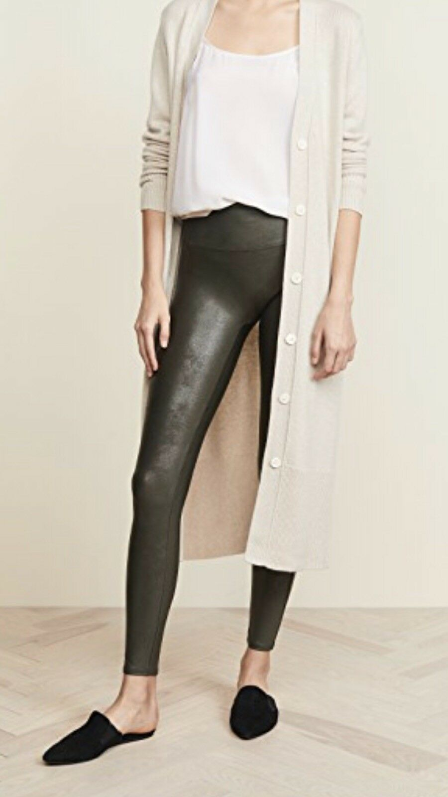 SPANX Women's Faux Leather Leggings Olive Green Size XL