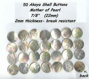50-Akoya-Shell-Mother-of-Pearl-Buttons-7-8-034-22mm-Agoya